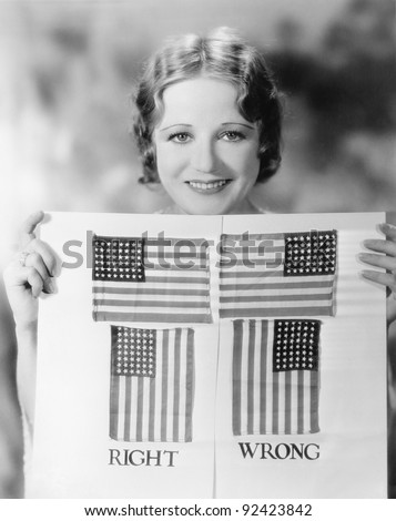 Young woman holding a diagram of how to hang an American Flag - stock photo