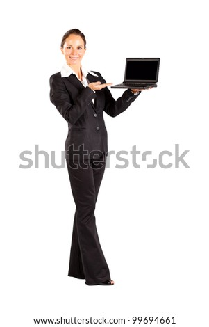 young woman holding a laptop isolated on white - stock photo