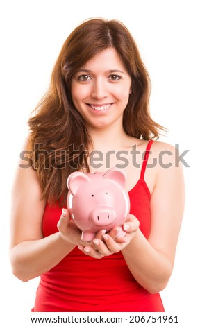 Young woman holding a piggy bank (money box) - savings concept
