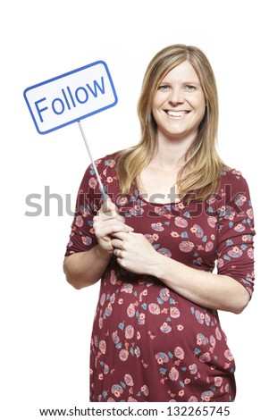 Young woman holding a social media sign smiling on white background