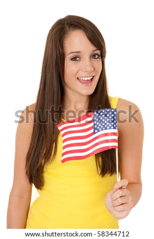 Young woman holding American flag isolated on white - stock photo