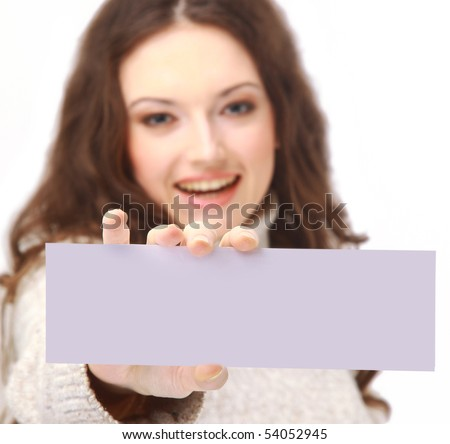 Young woman holding an billboard - stock photo