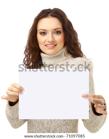 Young woman holding an empty billboard over white background - stock photo