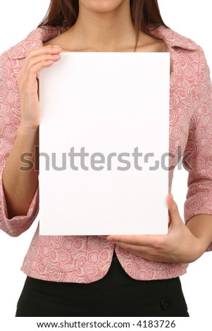 Young woman holding an empty card. Insert your own text. - stock photo