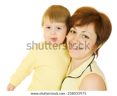 Young woman holding baby, isolated - stock photo