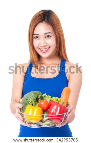 young woman holding basket of vegetables. healthy concept