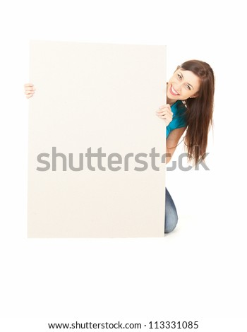 young woman holding blank board, white background