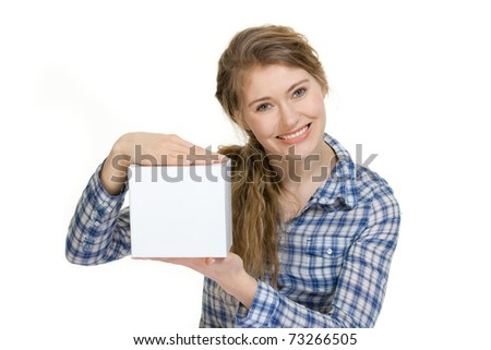young woman holding blank box with copyspace - stock photo