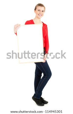 young woman holding blank poster, white background