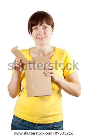 young   woman holding cardboard box. Isolated over white background