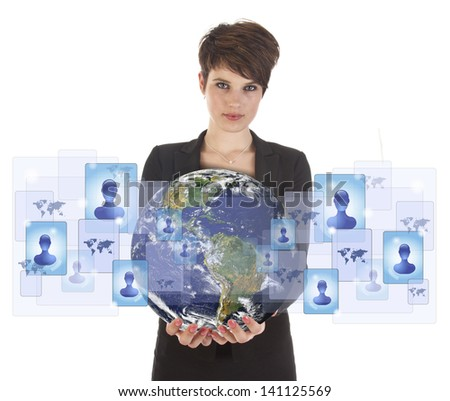 Young woman holding earth with social media symbols isolated on white. Elements of this image are furnished by NASA - stock photo