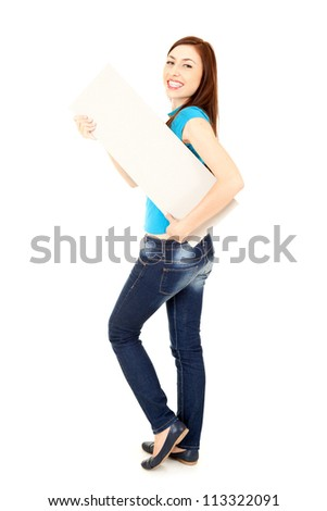 young woman holding empty card, white background - stock photo