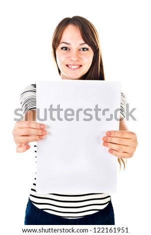 young woman holding empty sheet of paper - stock photo