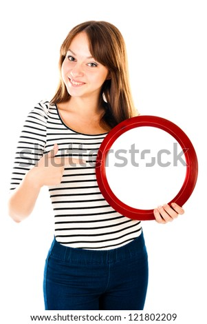 young woman holding empty sign - stock photo