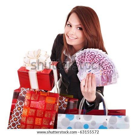 Young woman holding euro money, and gift box,. . Isolated. - stock photo