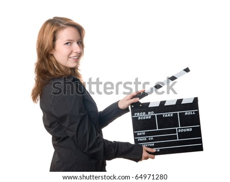 Young woman holding film slate (clapboard)