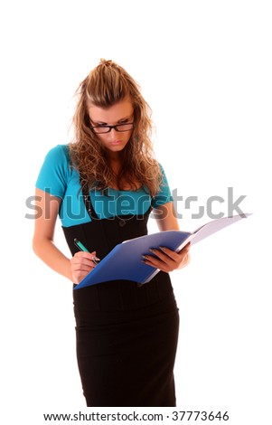 Young woman holding folder isolated on white