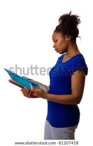 young woman holding folders isolated on a white background.