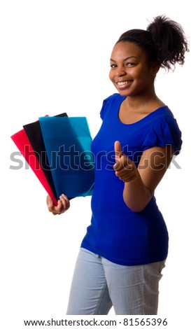 young woman holding folders with her thumbs up. - stock photo