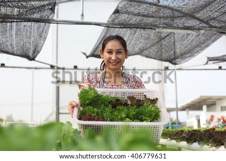 Young woman holding Fresh green organic  vegetable at  home garden - stock photo