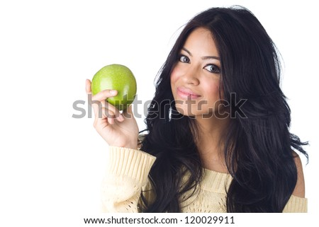 Young woman holding green apple  on  white background - stock photo