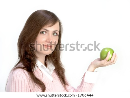 Young Woman Holding Green Applle - stock photo
