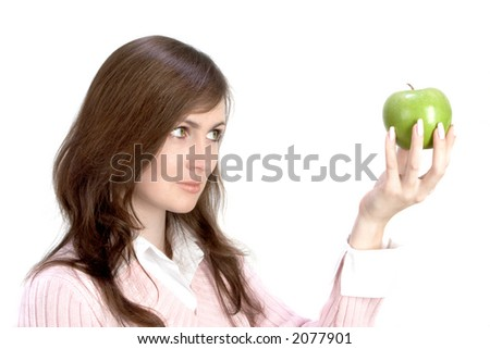 Young Woman Holding Green Applle Isolates Over White