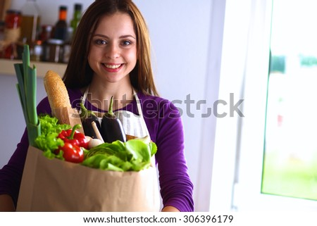 Young Woman Holding Grocery Shopping Bag Stock Photo 524061892 ...