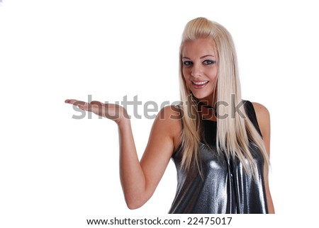 Young Woman holding hand out (you add something over hand) - stock photo