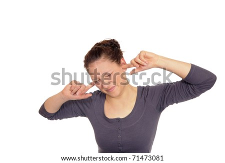 young woman holding her ears to