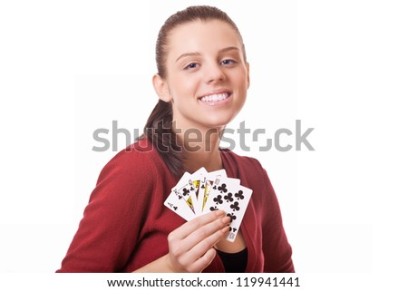 young woman holding in hand poker card with combination Royal Flush
