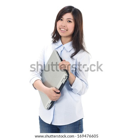 Young woman holding Laptop Isolated on White Background - stock photo