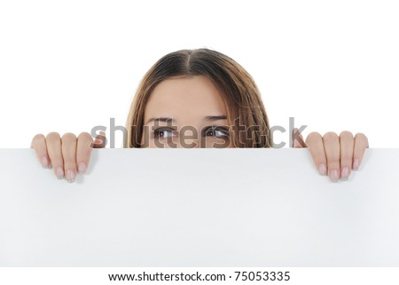 young woman holding large horizontal blank. Isolated on white background