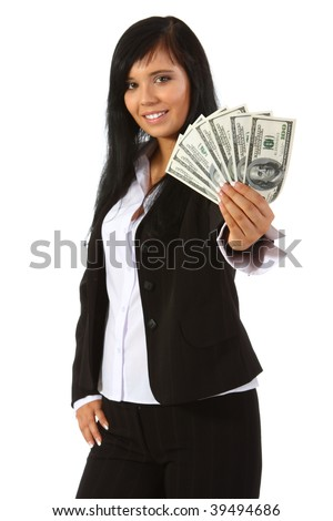 Young woman holding money