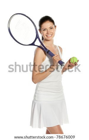 Young woman holding racket and ball isolated on white background - stock photo