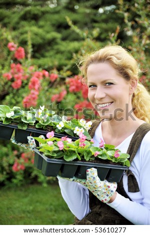 Young woman holding seedlings - stock photo
