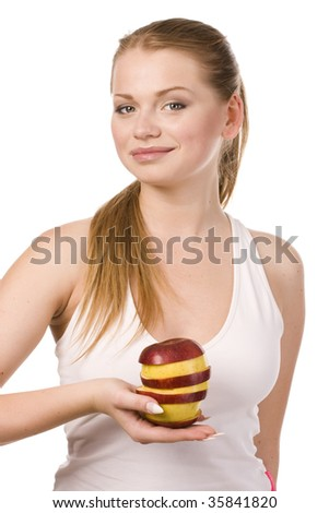 young woman holding slices of apples built as sendvich
