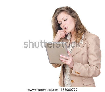 Young woman holding tablet pc and calling on the phone