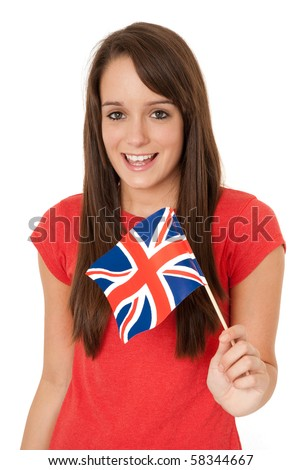 Young woman holding UK flag isolated on white - stock photo