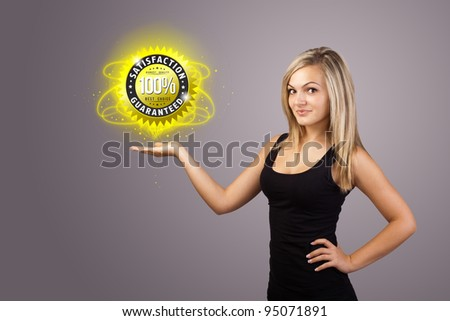 Young woman holding virtual business sign - stock photo