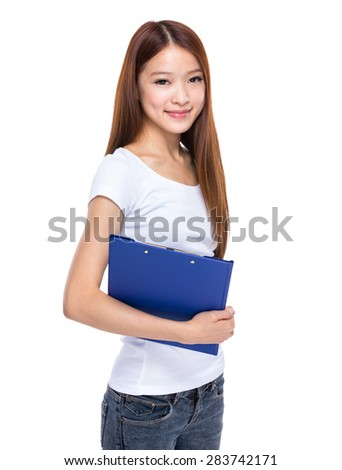 Young woman holding with clipboard