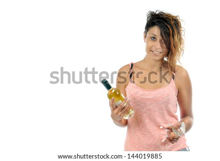 young woman holds a bottle with wine and two glasses