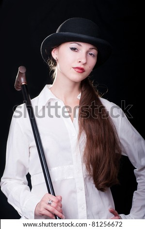 Young woman impersonating a Clockwork Orange character