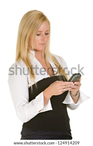 Young woman in a black and white dress - stock photo
