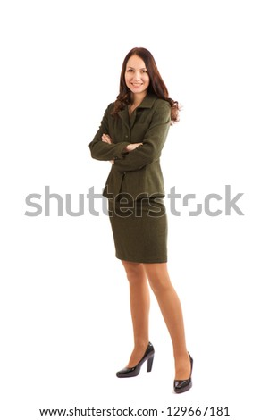 young woman in a business suit on a white background