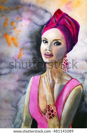 young woman in a crimson turban - watercolor