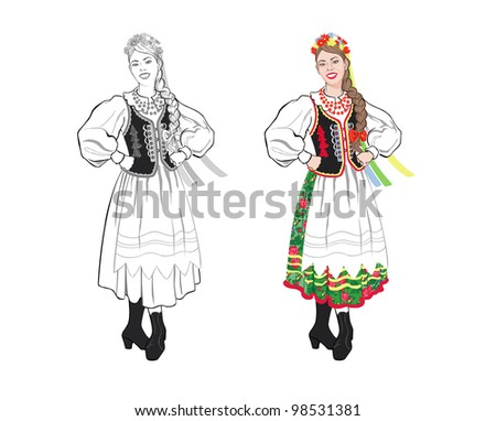 Young woman in a folk costume - stock photo
