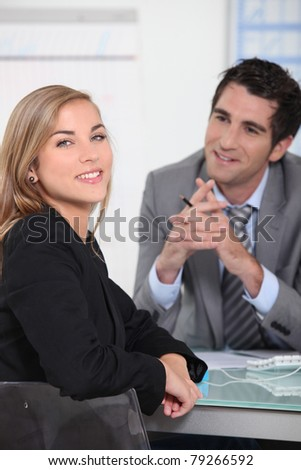 Young woman in a job interview - stock photo