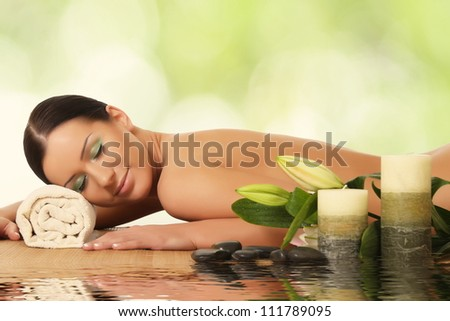 young woman in a spa - stock photo