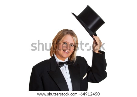 Young woman in a tailcoat greeting with her stovepipe hat - isolated